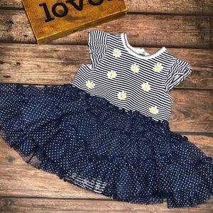 Little Me Infant Navy/White Stripe Tiered Dress 6M